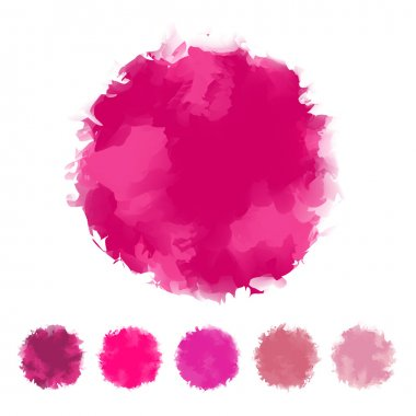 Set of pink tone water color round shape design for brush, textbox, design element, VECTOR EPS10