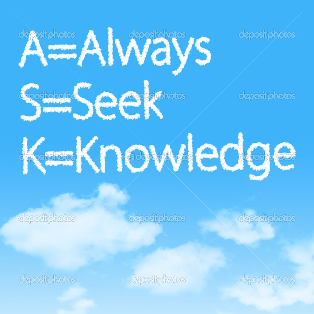 Always Seek Knowledge cloud icon with design on blue sky background