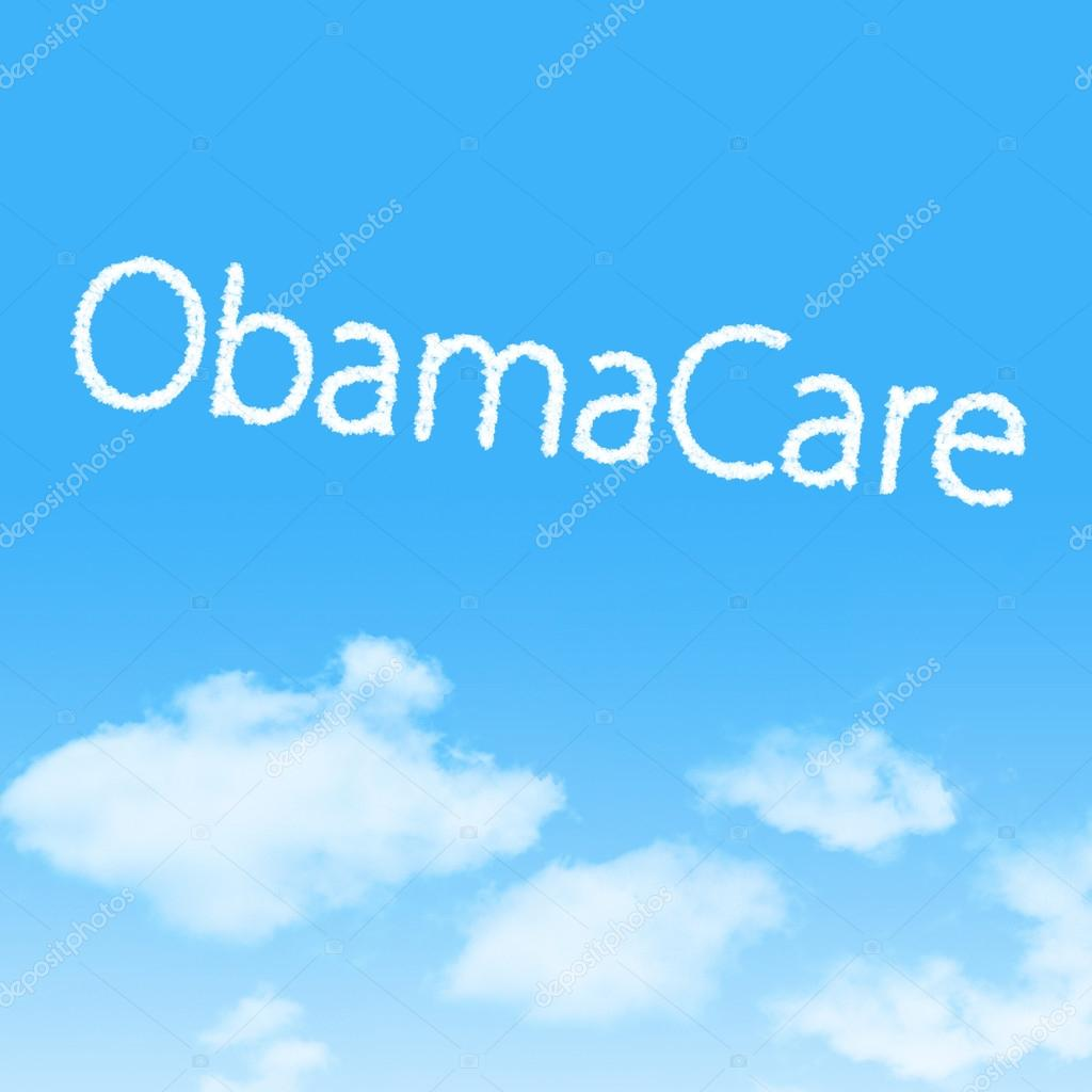 ObamaCare cloud icon with design on blue sky background