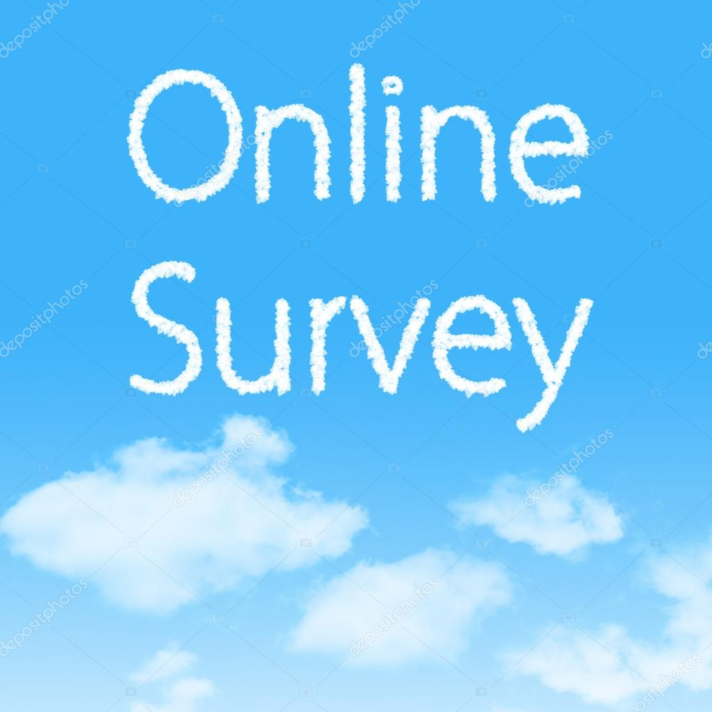 Online Survey cloud icon with design on blue sky background