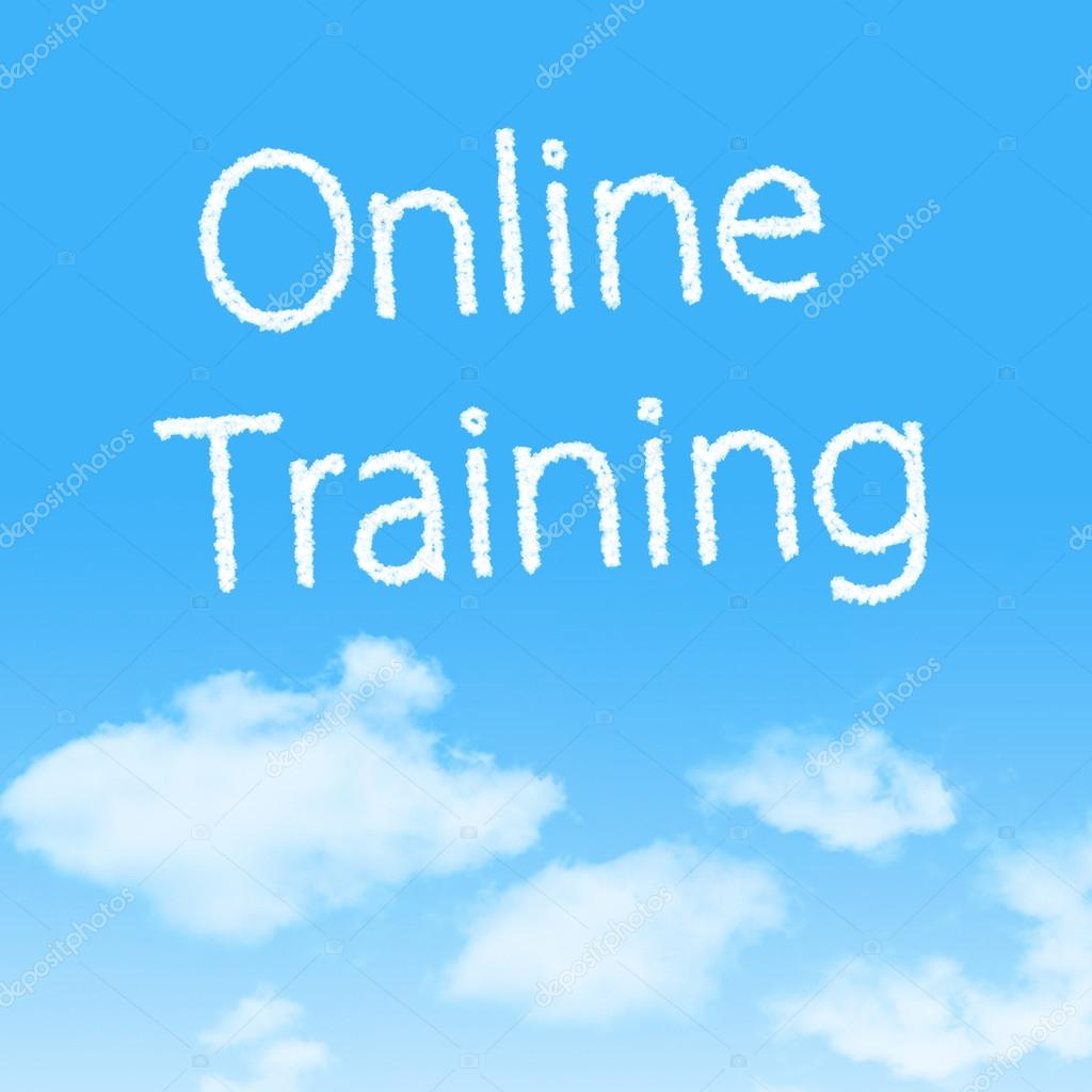 Online Training cloud icon with design on blue sky background