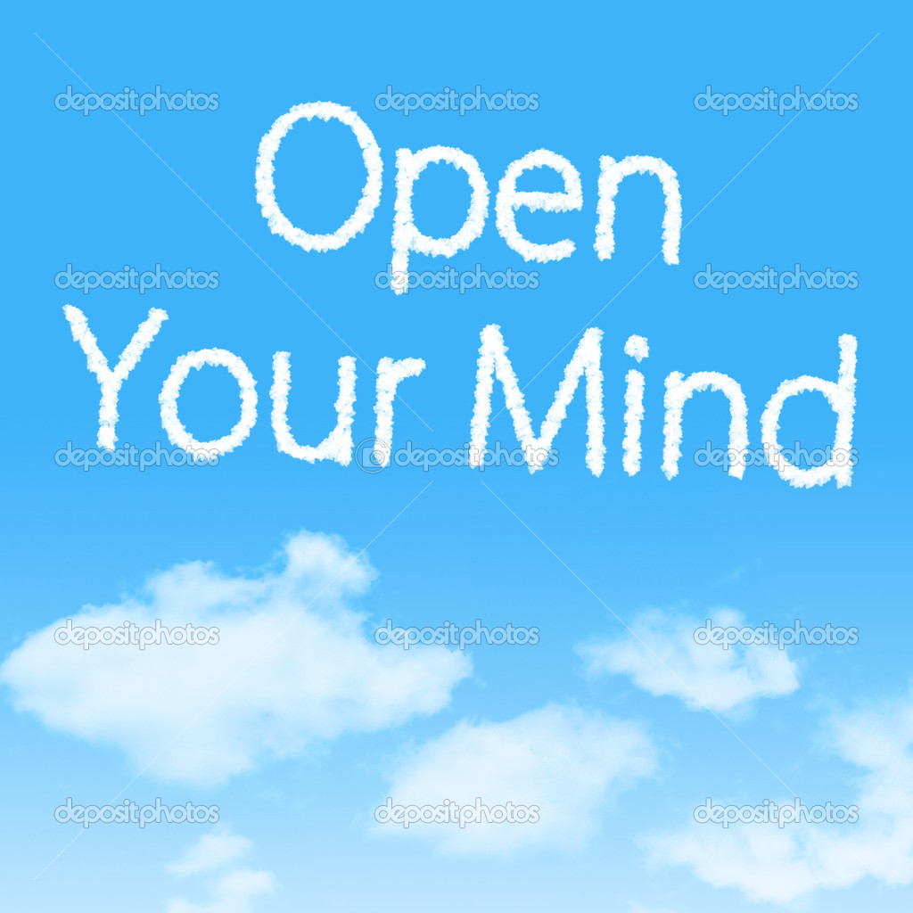 Open Your Mind cloud icon with design on blue sky background