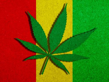 Background texture paper Rasta Flag with Marijuana Leaf silhouette