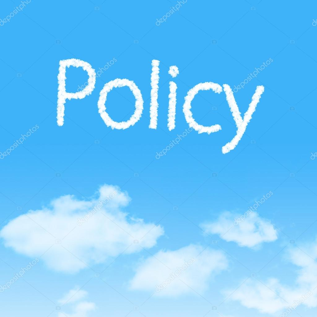 Policy cloud icon with design on blue sky background