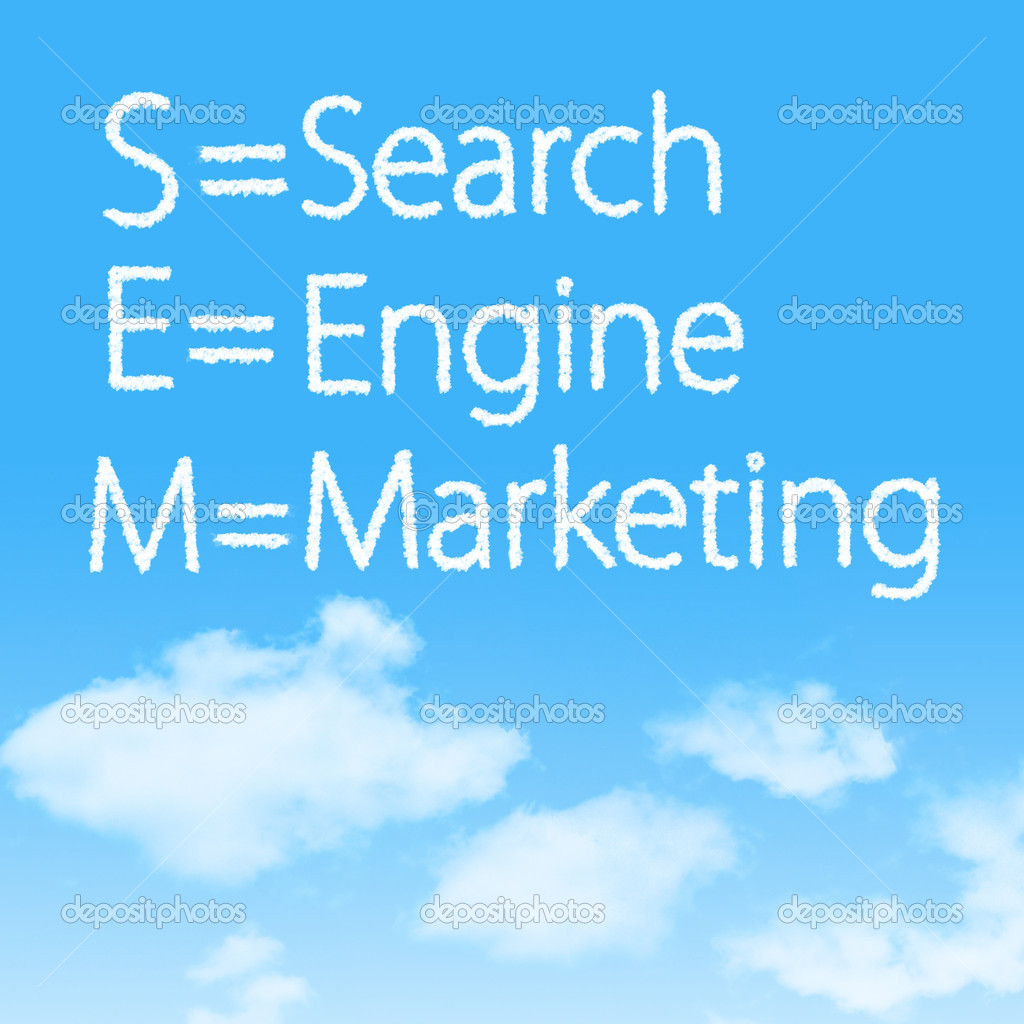 Search Engine Marketing cloud icon with design on blue sky background