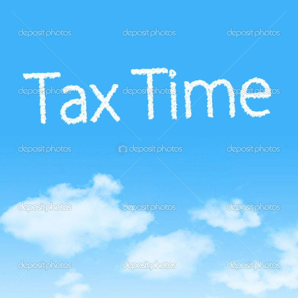 Tax Time cloud icon with design on blue sky background