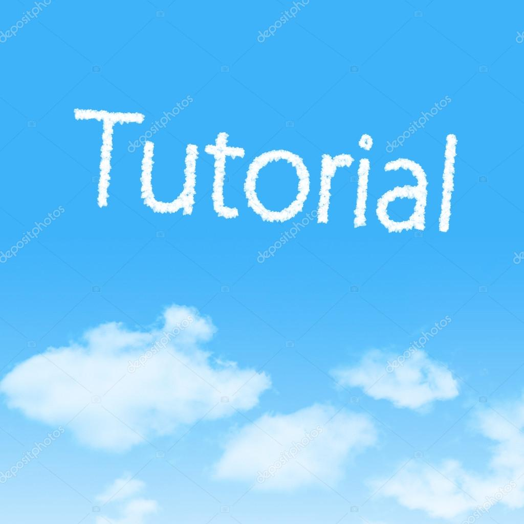 Tutorial cloud icon with design on blue sky background