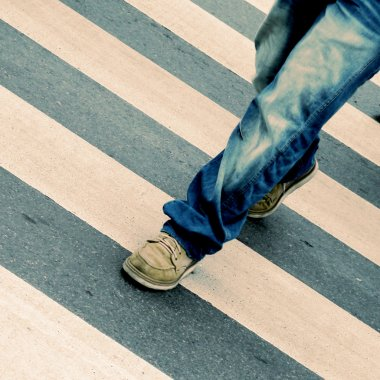 Man crossing the street old vintage retro style