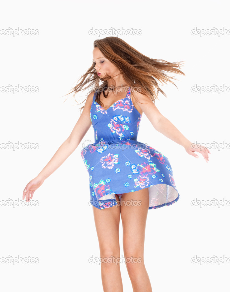 Teenage Girl in Summer Dress with Wind Lifting her Skirt 7