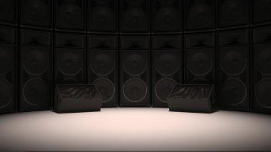 Black 3D speakers in studio set