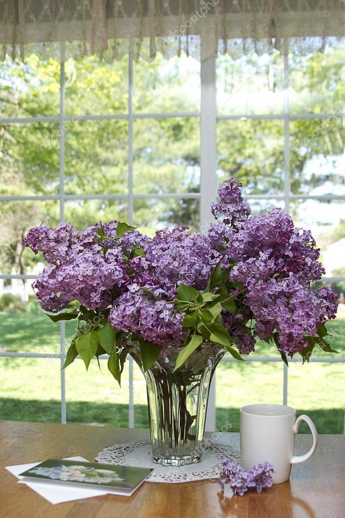 Lilacs in Crystal Vase