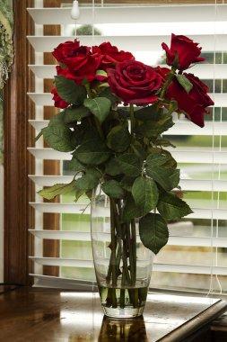 Red Silk Roses Closeup