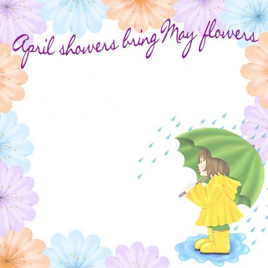 April Showers Bring May Flowers Graphic Illustration