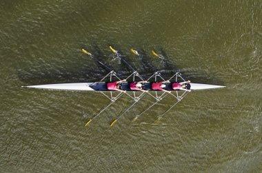 Women's rowing team, top view