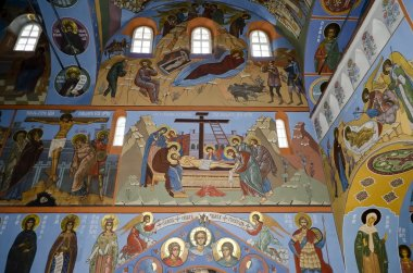 Interior of the Trinity cathedral in Pochaev Lavra, the painting