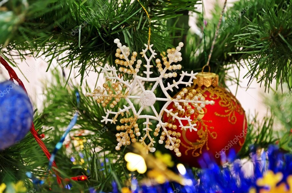 New Year background - beautiful toys on a Christmas tree