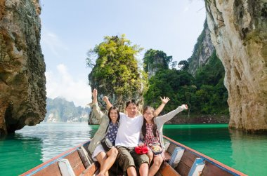 Happy family travel boat ( Guilin of Thailand )