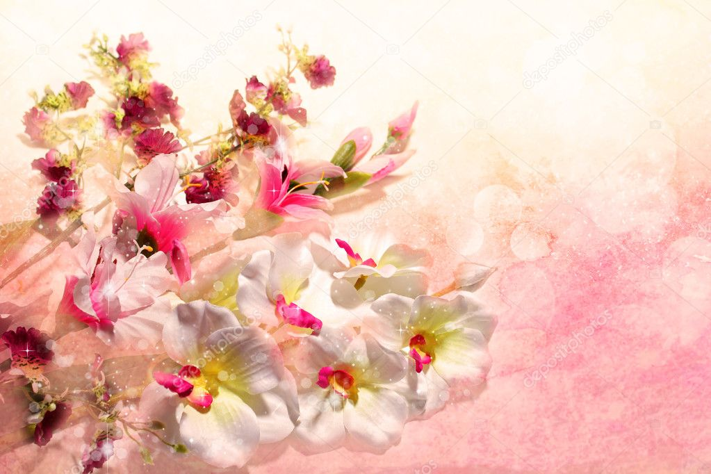 wonderful bouquet of flowers on a pink background