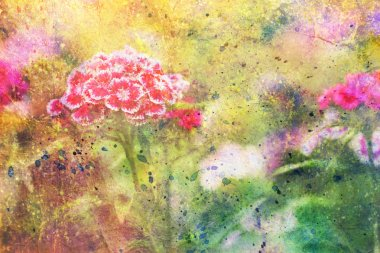 Garden red flowers and abstract colorful watercolor smudges