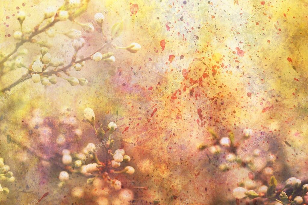 Artwork with blooming branches and watercolor splatter