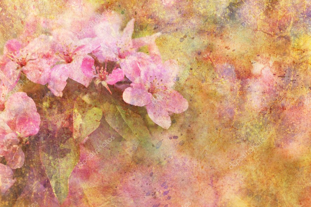 Artwork with beautiful pink flowers and watercolor splatter
