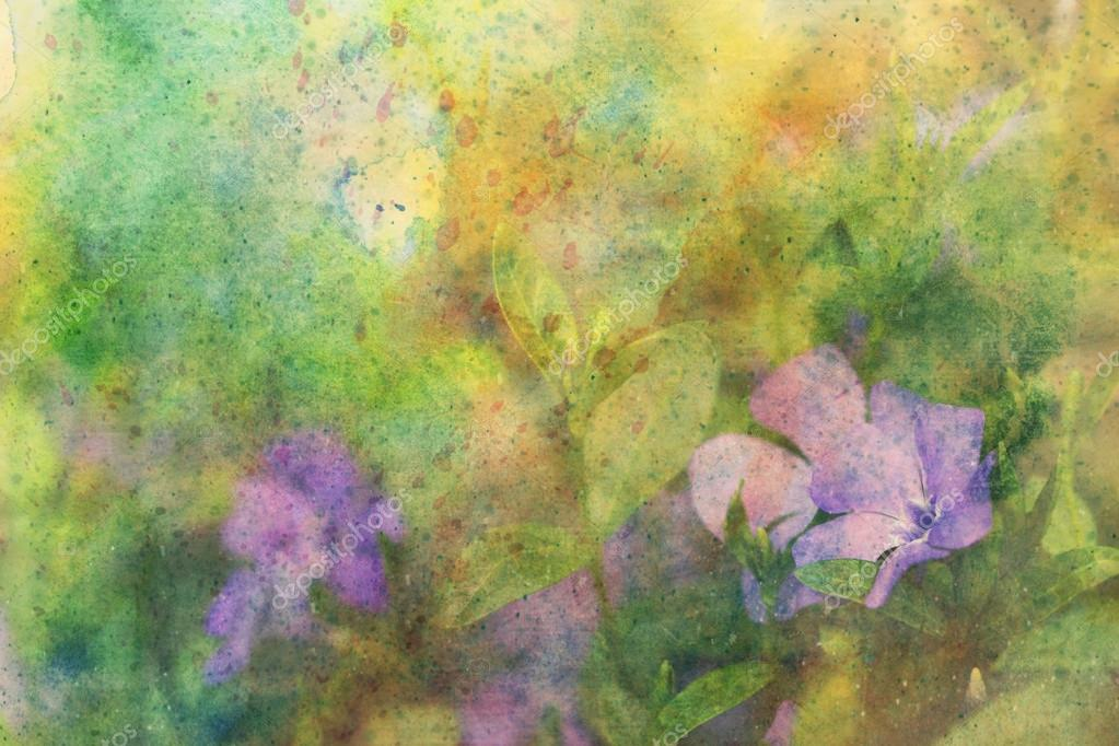 Artwork with lilac flowers and watercolor splatter