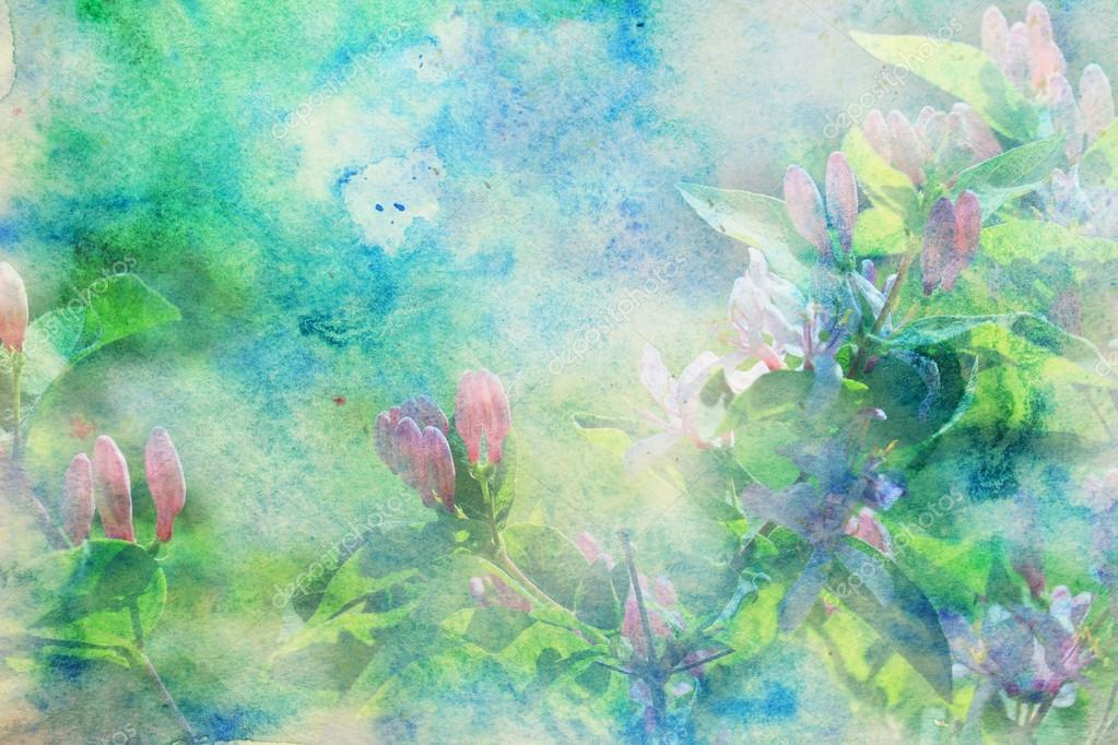 Grunge artwork with small pink flowers and blue and green watercolor smudges