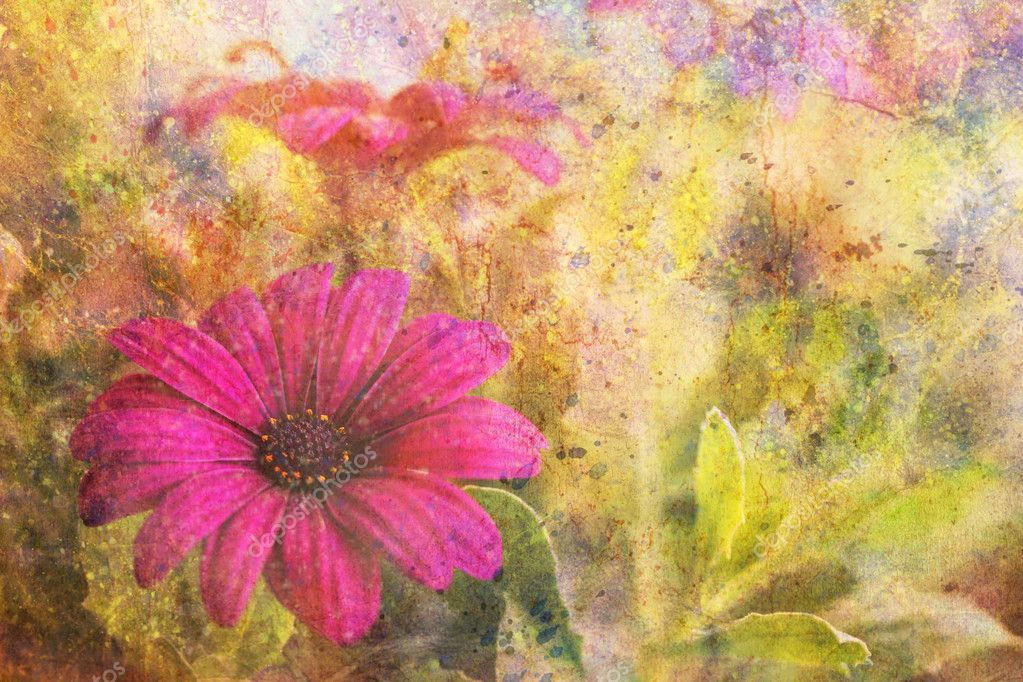 Grunge artwork with purple flower and colorful watercolor strokes