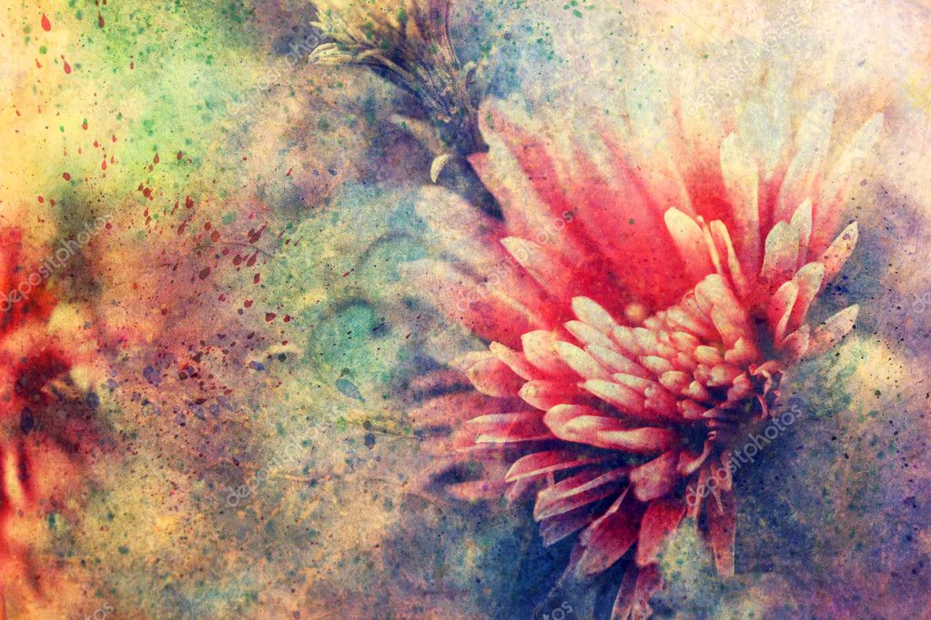 Grunge artwork with flower and watercolor splashes