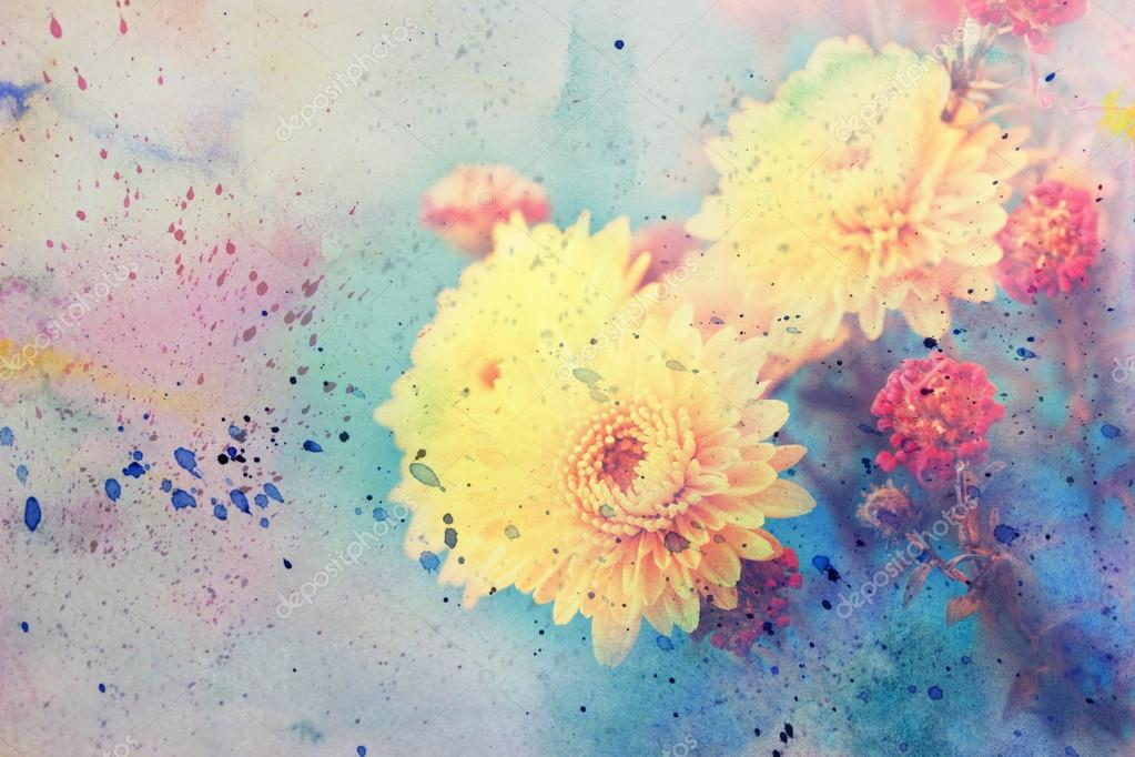Artwork with beautiful yellow aster flowers and watercolor splashes