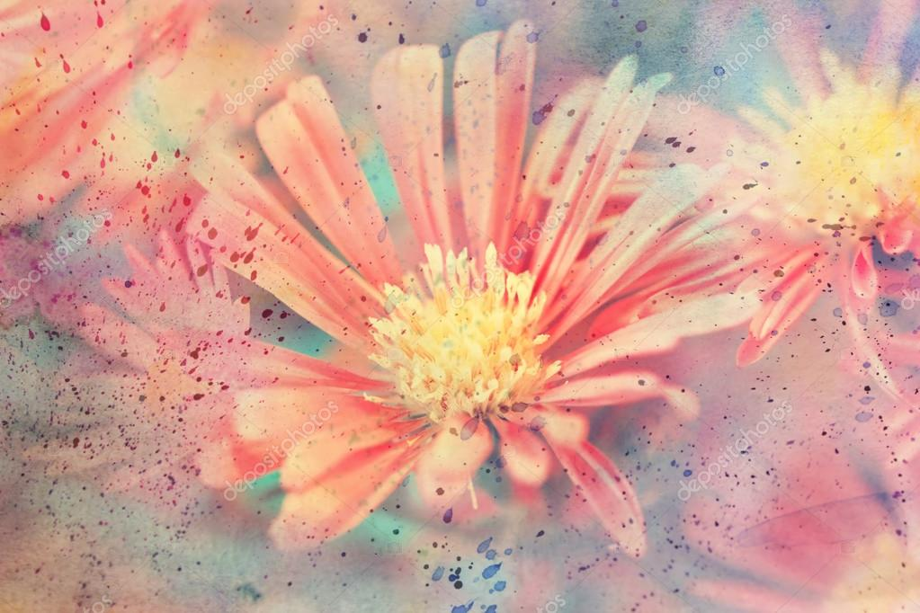 Artwork with cute red aster flower and watercolor splatter