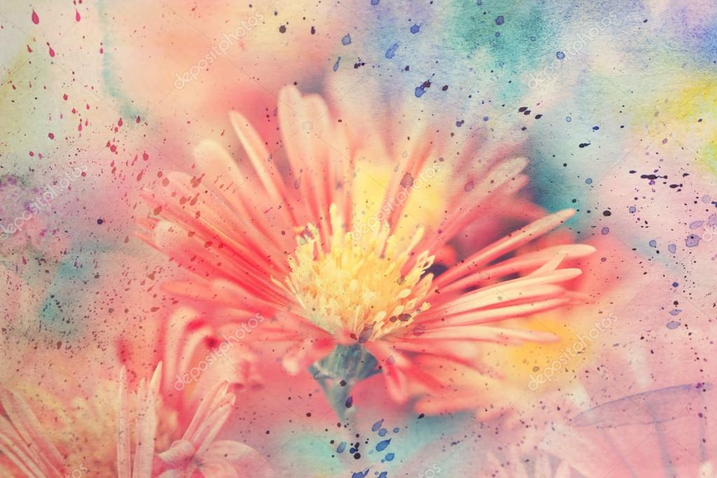 Artwork with beautiful red flowers and watercolor splatter