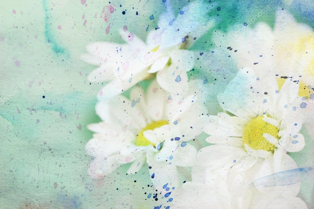 Scenic artwork with delicate chamomile flowers