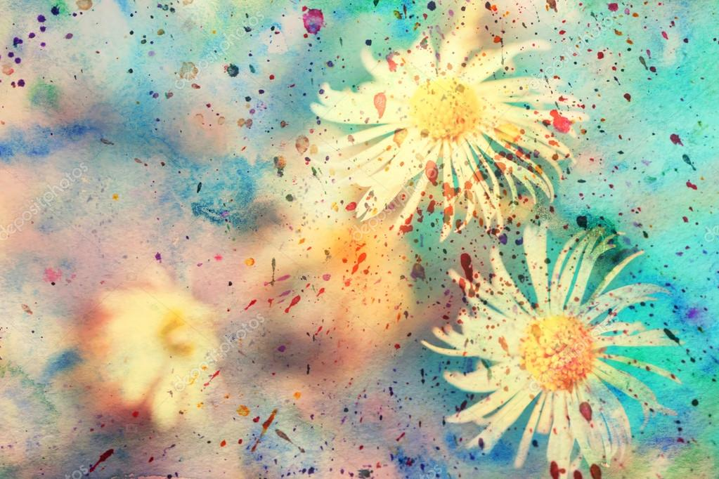 Small white chamomiles and colorful watercolor splatter