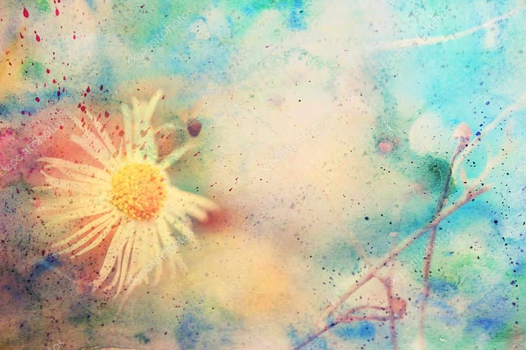 Scenic artwork with beautiful small chamomile and watercolor smudges