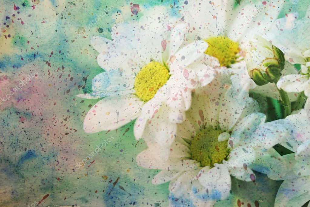 Artwork with adorable flowers and grunge watercolor