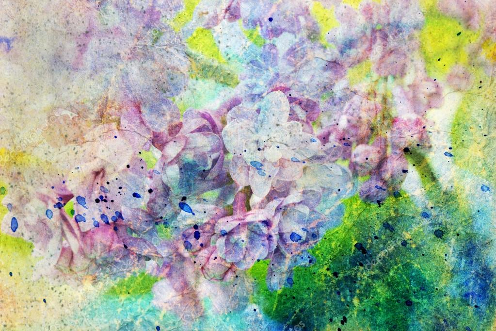 Lilac branch and messy watercolor splatter