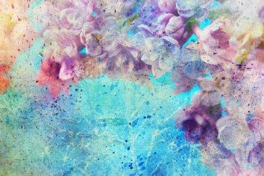 "Картина, постер, плакат, фотообои ""Акварель брызги и красивые сиреневые цветы"", артикул 51405711"