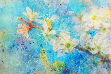 Watercolor splashes and blooming spring twig with white flowers