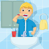 kleiner Junge Bürsten Zähne-Vektor-illustration