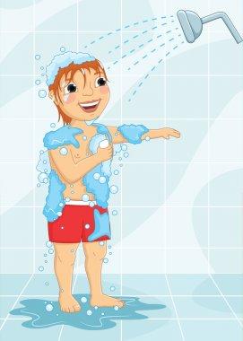 Young Boy Having Shower Vector Illustration