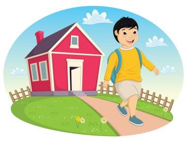 Boy Leaving Home Vector Illustration