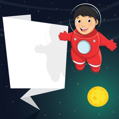 Vector Illustration Of A Cute Astronaut With Origami Banner