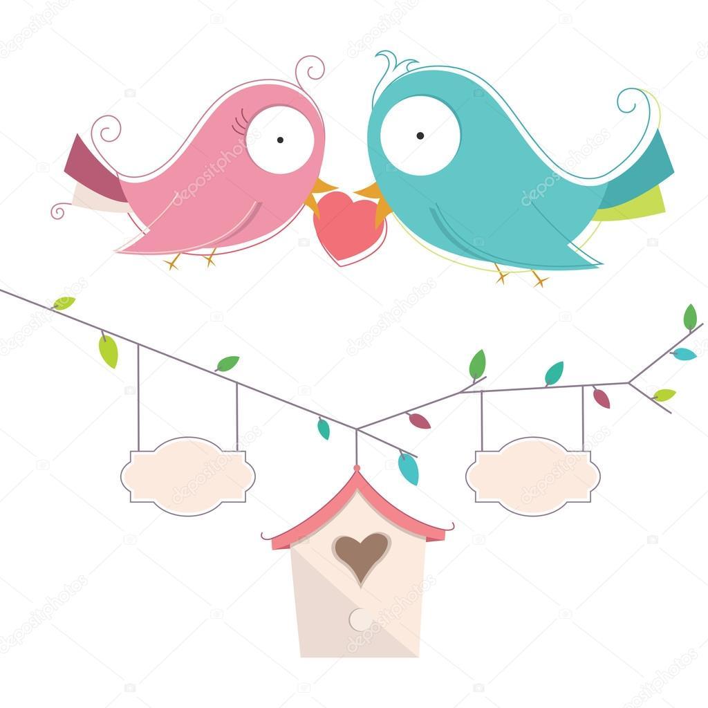 愛の結婚式のカードで 2 つのかわいい鳥のベクトル イラスト — ストック