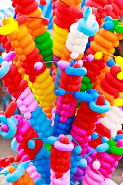 Colorful balloons twisted