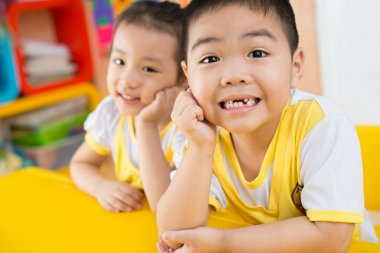 Happy asian children