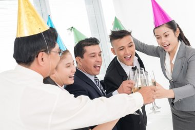Group of businessmen celebrating the victory at office stock vector