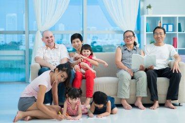 Happy mixed family