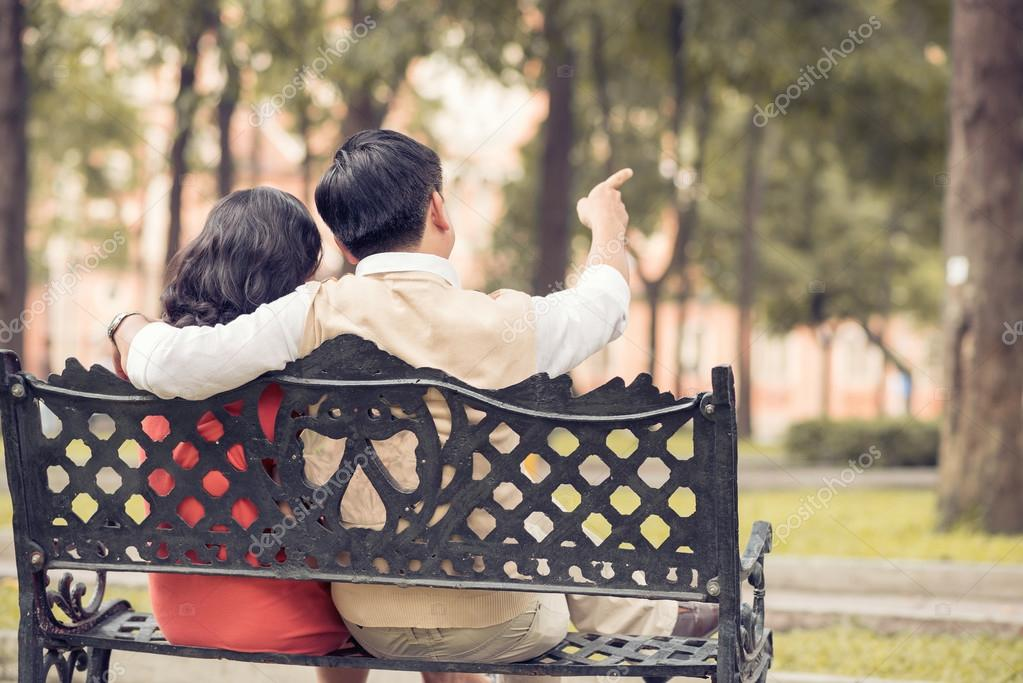 Couple resting on the bench