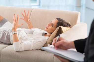 Patient in office of psychologist